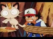 Ash bites meowth's tail