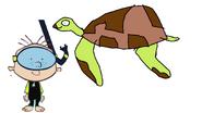 Stanley Griff Meet's Green Sea Turtle