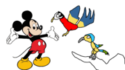 Mickey meets Blue And Gold And Scarlet Macaw