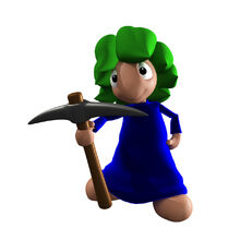 Lemming Holding a Miner's Axe