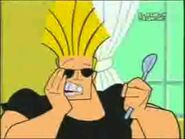 Johnny Bravo brushes his teeth