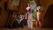King Julien, Maurice, and Clover in Mort's stump again