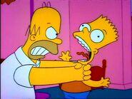 Homer strangles Bart.