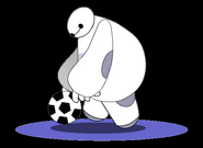 Baymax playing soccer