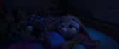 Judy holds her plush toy