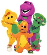 Barney, BJ, Baby Bop, and Riff is Happy