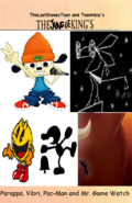 Parappa, Vibri, Pac-Man and Mr. Game Watch