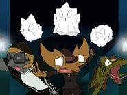 Dressed as ghosts, Parafly-Lum, Fojo and Faja chasing Stan, Nigel and Joe in the corridor