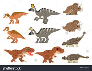 Stock-vector-north-american-cretaceous-dinosaurs-vector-containing-tyrannosaurus-rex-triceratops-ankylosaurus-494043493