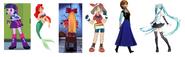Violin Girl, Ariel, Twilight Sparkle (EG), Miku Hatsune, May & Anna