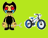 It's Bendy with Sonic's bike