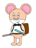Mr. Danny Hamster (baby carrier) (with two lightsabers (one orange and one blue))
