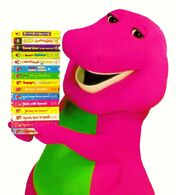 Barney carrying his videotapes by bestbarneyfan-dbhbi5y