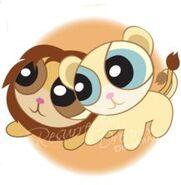 Simba and Nala as powerpuff girls