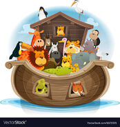 Noah's Ark Seagulls Lions Zebras Ostrichs Rattlesnakes Elephants Storks Hippos Monkeys Chimpanzees Foxs Toucans Antelopes Kangaroos Tigers Bears and Flamingos