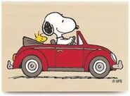 Snoopy driving
