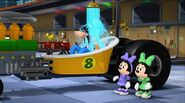 Goofy is sad that the Drive-In Movie Theater is closing, crying and taking a shower to hide his tears
