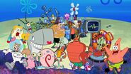 Patrick Star, Sandy Cheeks, Gary the Snail, Mr. Krabs, Squidward, Mrs. Puff, Plankton, Mrs. Karen, Plankton's Cousins, Pearl Krabs, Mermaidman, Larry the Lobster and Barnacleboy (Spongebob Squarepants)