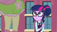 Twilight looking up at Fluttershy EG3