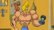Johnny Bravo grows strong.