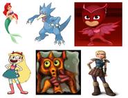 Owlette, Astrid Hofferson, Star Butterfly, Fliudevil, Golduck & Ariel