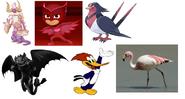 Toothless, Owlette, Swellow, Flamingo, Woody Woodpecker & Attmoz