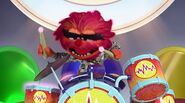 Animal laugh as he plays the drums