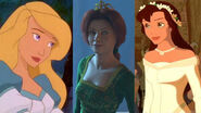 Princess Odette, Fiona and Kayley (The Swan Princess, Shrek and Quest for Camelot)