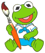 Baby Kermit (from Muppet Babies) as Tommy Pickles