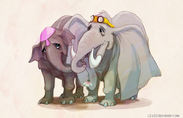 Mrs. Jumbo the Elephant With Her Calf