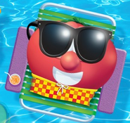 Bob the Tomato wearing his bathing suit