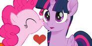 Pinkie Kisses Twilight On The Cheek