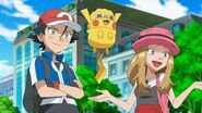 James, Inkay and Jessie impersonating Ash, Pikachu and Serena