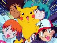 Ash, Misty, Brock, Pikachu, and Duplica