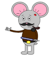 Mr Einstein Hamster (pipe) (with a saber staff activating) with another blue blade shown.