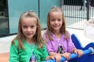 Blond haired twin girls