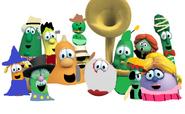 Veggies in their Halloween costumes