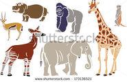 Stock-photo-exotic-animals-set-giraffe-elephant-okapi-gorilla-hippo-meerkat-and-antelope-173136521