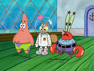 Sandy patrick and krabs are gasping