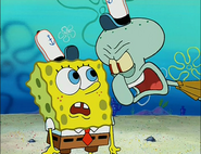 Squidward mad at Spongebob