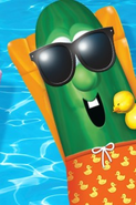 Larry the Cucumber wearing his bathing suit