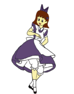 Sarah spacebot as alice twirling by darthranner83-dckhl5v