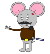 Mr. Einstein Hamster (with a saber staff activating) with one blue blade shown.