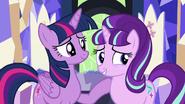 Twilight puts her hoof on Starlight; Starlight smiles S5E26