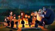 Dracula and friends singing a campfire