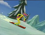 Pink panther goes skiing