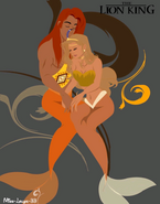 Simba and Nala as merpeople