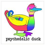 Psychedelic duck cartoon