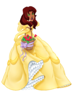 Starfire dressed as Belle