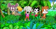 (2) Perdita and Her Friends Swinging with Vines